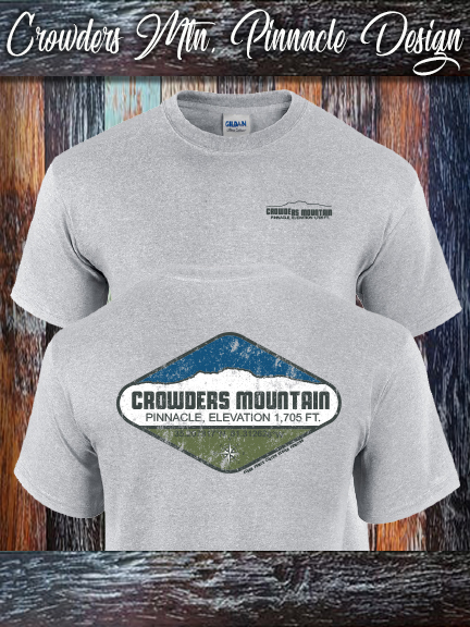 Crowders Mountain Pinnacle shirt on Sports Grey Gildan 100% cotton shirt.